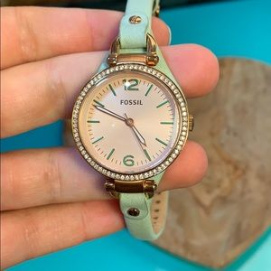 Fossil turquoise and rose gold leather watch